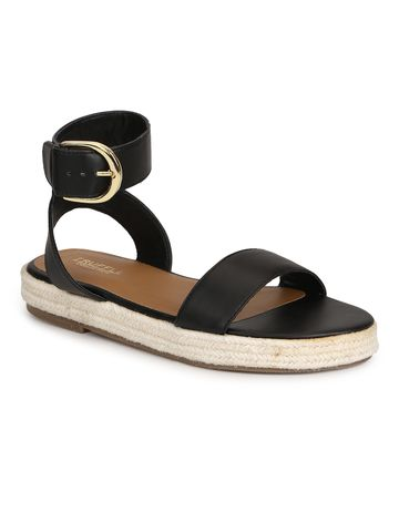 Truffle Collection   Truffle Collection Black PU Jute Sandals With Ankle Strap