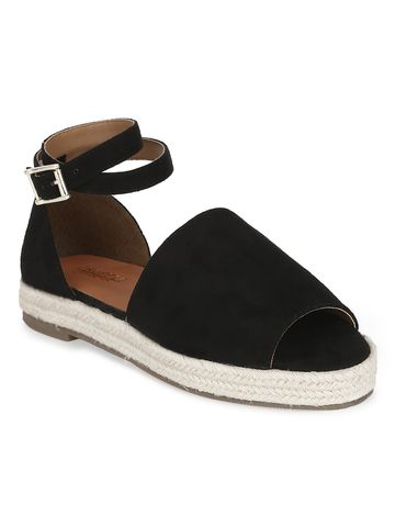 Truffle Collection | Black Micro Wide Strap Jute Sandals