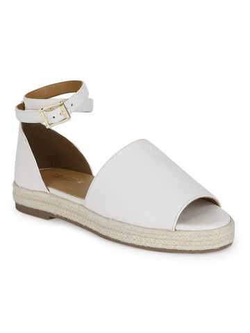 Truffle Collection | White PU Wide Strap Jute Sandals
