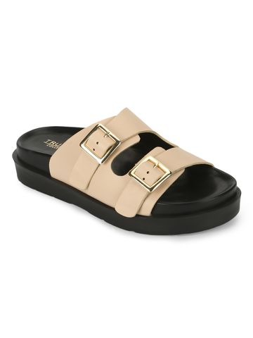 Truffle Collection | Truffle Collection Nude PU Side Buckle Slides