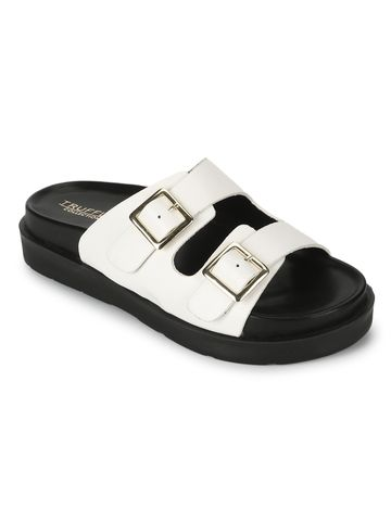 Truffle Collection | Truffle Collection White PU Side Buckle Slides