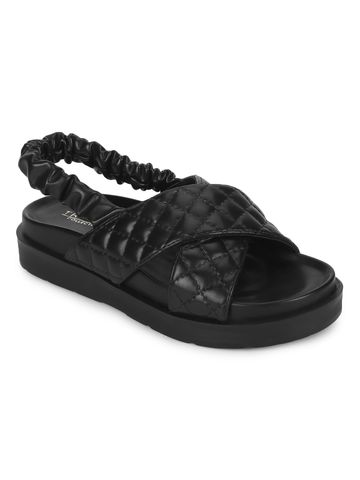 Truffle Collection | Truffle Collection Black PU Quilted Strap Platform Sandals
