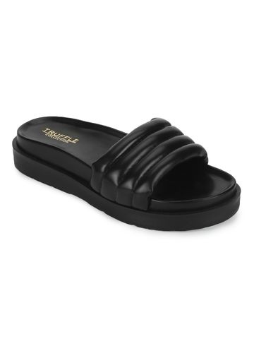 Truffle Collection | Truffle Collection Black PU Quilted Platform Slides
