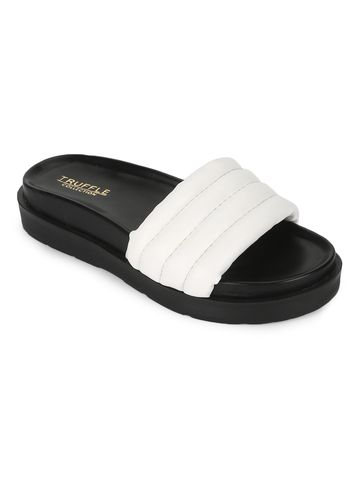 Truffle Collection | Truffle Collection White PU Quilted Platform Slides