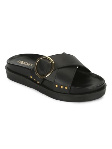 Truffle Collection | Truffle Collection Black PU Crisscross Side Buckle Slides