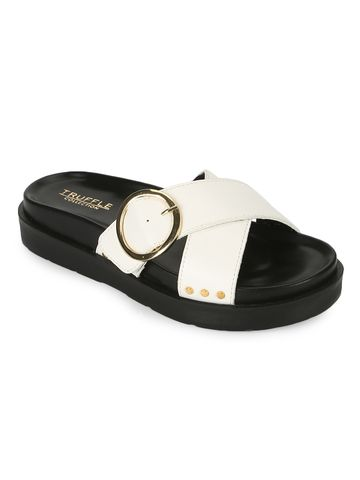 Truffle Collection | Truffle Collection White PU Crisscross Side Buckle Slides