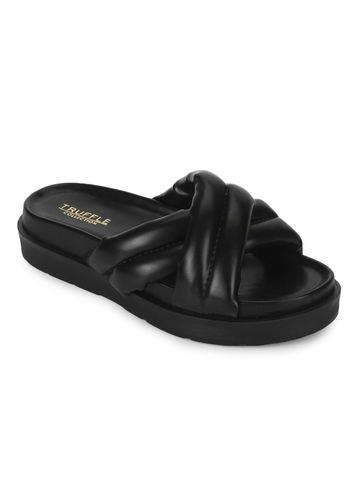 Truffle Collection | Truffle Collection Black PU Crisscross Quilted Slides