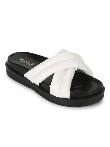 Truffle Collection | Truffle Collection White PU Crisscross Quilted Slides