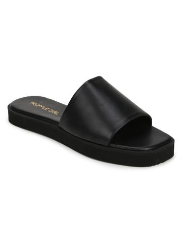 Truffle Collection | Truffle Collection Black PU Wide Strap Slides