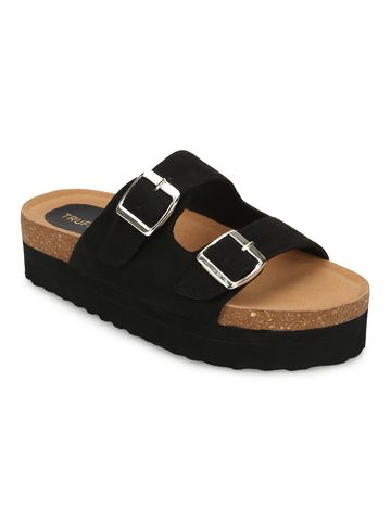 Truffle Collection | Truffle Collection Black PU Side Buckle Slides