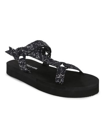 Truffle Collection | Truffle Collection Black PU Printed Platform Sandals