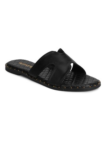 Truffle Collection | Truffle Collection Black PU Quilted Slip Ons