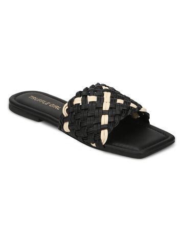 Truffle Collection | Truffle Collection Black PU Slides With Knotted Details