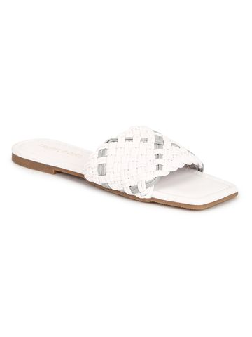 Truffle Collection | Truffle Collection White PU Slides With Knotted Details
