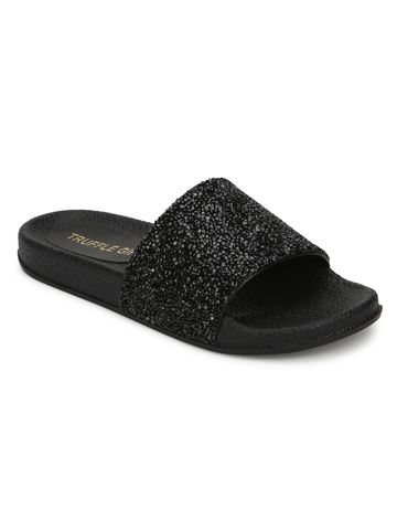 Truffle Collection | Truffle Collection Black PU Glitter Slides