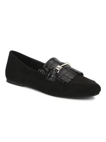 Truffle Collection | Truffle Collection Black Micro Loafer Shoes With Buckle