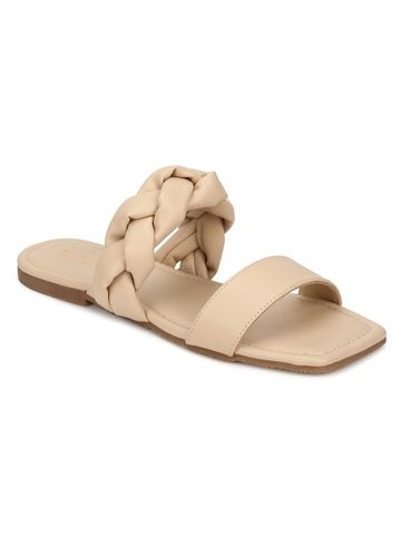 Truffle Collection | Truffle Collection Nude PU Slip Ons With Braid Details