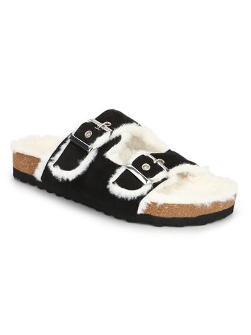Truffle Collection | Truffle Collection Black Furry Cork Sandals With Buckle