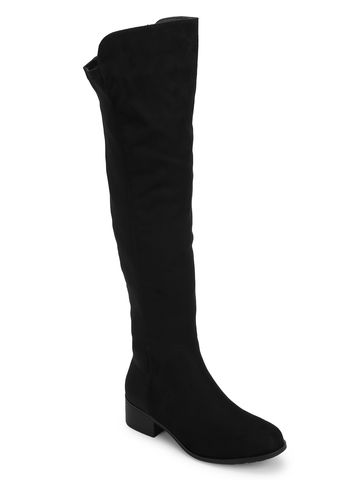 Truffle Collection | Black Micro High Knee Low Heel Boots