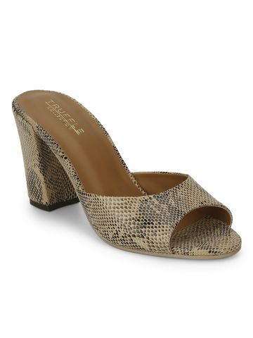 Truffle Collection | Beige PU Snake Peep Toe Mules