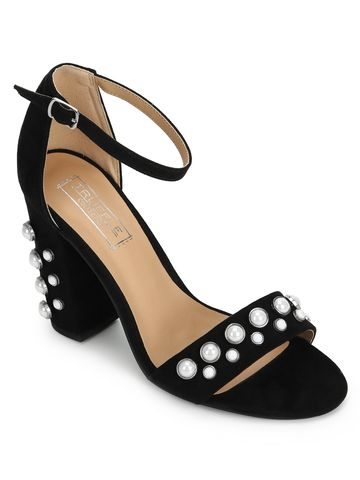 Truffle Collection | Black Micro Block Heel Studded Sandals