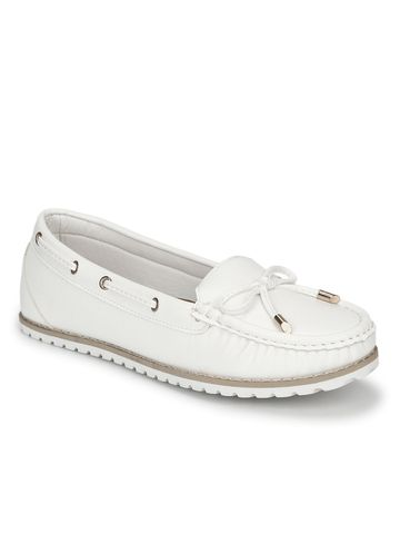Truffle Collection | White PU Flat Belly Shoes