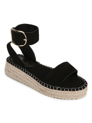 Truffle Collection | Black Suede Wedges Sandals With Jute Sole