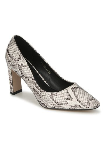 Truffle Collection | Beige PU Snake Pattern Slim Block Heel Pumps