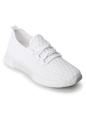 Truffle Collection | Truffle Collection White Knitted Slip On Sneakers