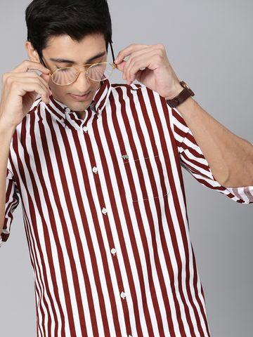 The Bear House   Men's Maroon Striped Casual Shirt