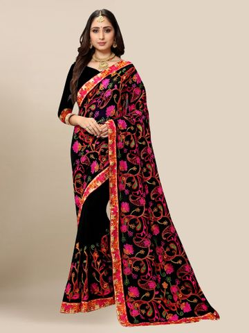SATIMA | Women Black Georgette Embroidered Party Saree