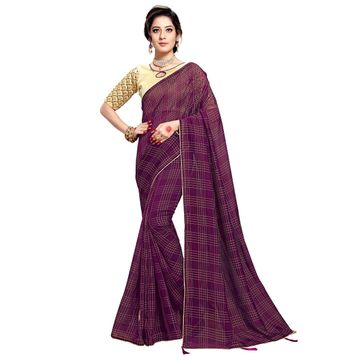 SATIMA | WOMEN'S PURPLE SELF DESIGN PRINTED GEORGETTE SAREE