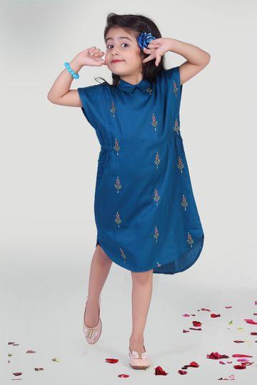 MINI CHIC | Blue Cotton Kaftan for kids