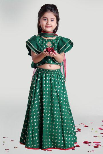 MINI CHIC | Girls Green Circular Skirt and Choli Set with Dupatta