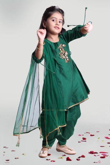 MINI CHIC | Girls Green Cowl Pants and Kurta Set With Dupatta