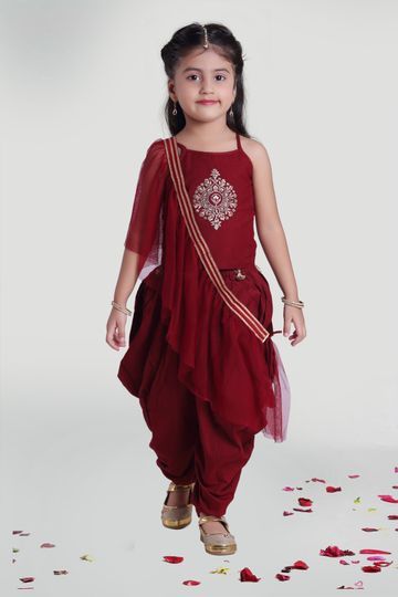 MINI CHIC | Maroon silk cowl with top and dupatta for girls