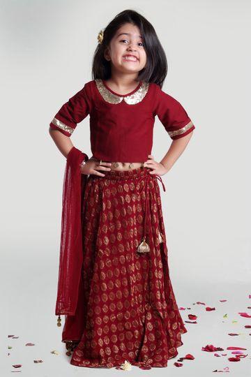 MINI CHIC | Maroon Circular Skirt and Choli Set with Dupatta for Girls