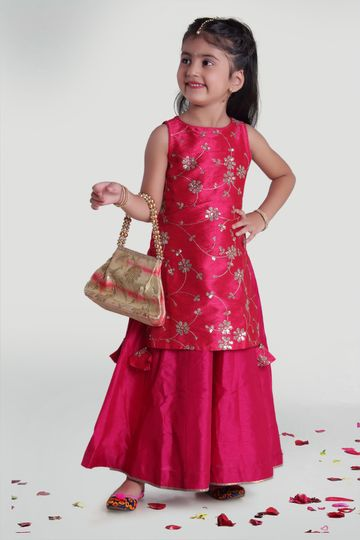 MINI CHIC | Fuchsia Layer Kurta Wear for Girls