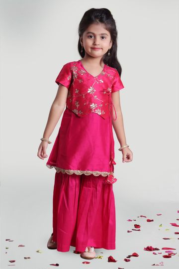 MINI CHIC | Fuchsia pink Sharara and Kurta Set with Jacket for Girls
