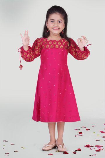 MINI CHIC | Fuchsia Party Dress for Girls