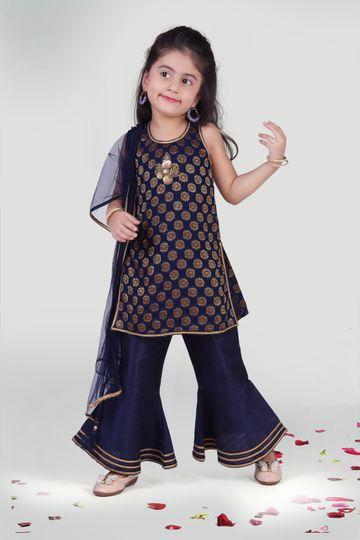 MINI CHIC | Navy Blue Sharara and Kurta set with Dupatta for Girls