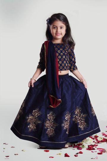 MINI CHIC | Girls Navy Skirt and Choli Set with Dupatta