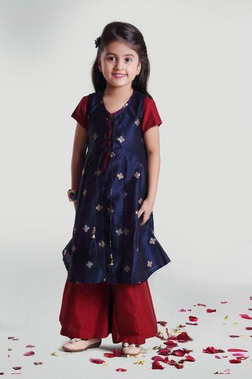 MINI CHIC | Girl's Maroon Palazzo-Inner Set with Navy Blue Jacket