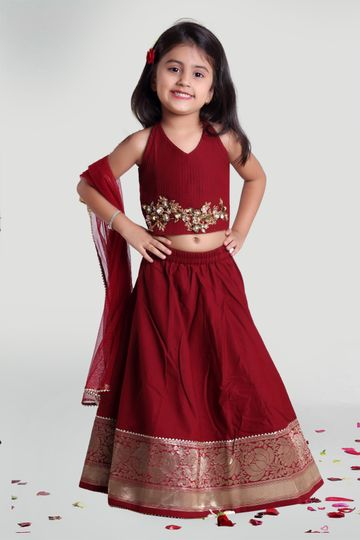 MINI CHIC | Maroon Skirt and Choli set with Dupatta for Girls