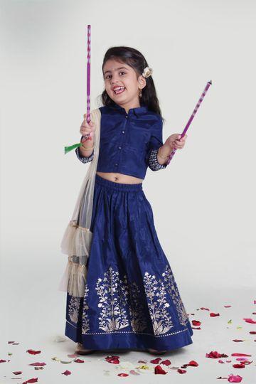 MINI CHIC | Girls Blue Gather Skirt and Choli Set with Dupatta