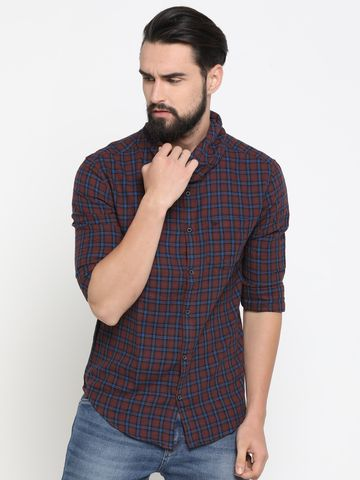 Showoff | Brown Showoff Mens Cotton Checked  Slim Casual Shirts