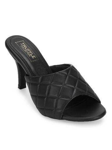Truffle Collection | Black PU Quilted High Heel Mules