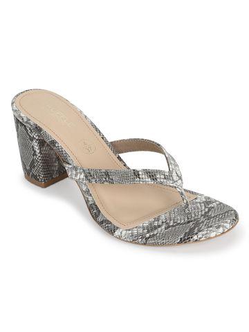 Truffle Collection | Grey Snake PU Slip On High Heel Mules