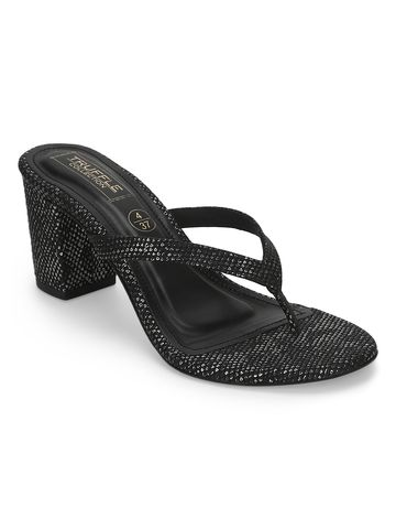 Truffle Collection | Black Snake PU Slip On High Heel Mules