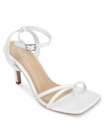 Truffle Collection | White PU Strappy Stilettos